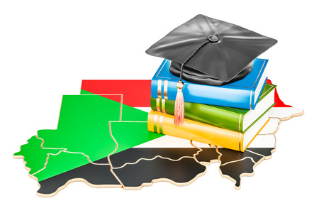 Education in Sudan concept, 3D rendering isolated on white background