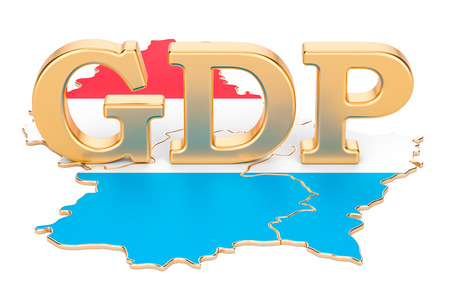 gross domestic product GDP of Luxembourg concept, 3D rendering isolated on white background Stock Photo