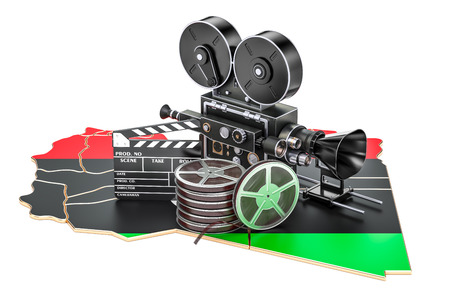 Libyan cinematography, film industry concept. 3D rendering isolated on white background