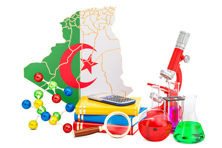 Scientific research in Algeria concept, 3D rendering isolated on white background