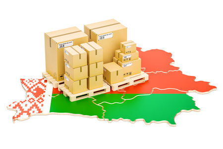 Shipping and Delivery from Belarus isolated on white background Stock Photo