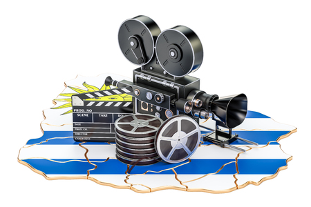 Uruguayan cinematography, film industry concept. 3D rendering isolated on white background