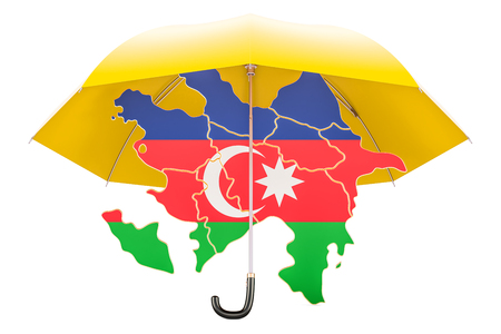 Azerbaijan map under umbrella. Security and protect or insurance concept, 3D rendering
