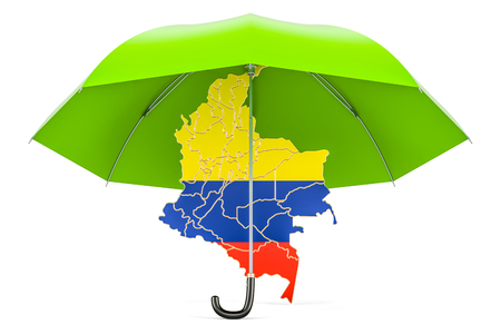 Colombian map under umbrella. Security and protect or insurance concept, 3D rendering