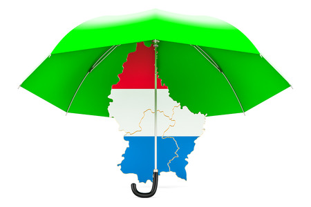 Luxembourg map under umbrella. Security and protect or insurance concept, 3D rendering