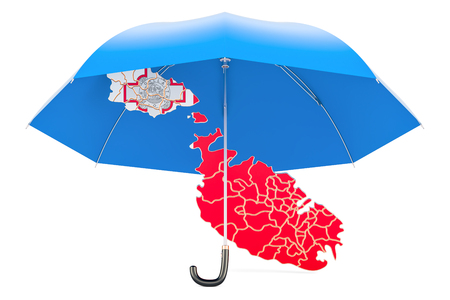 Malta map under umbrella. Security and protect or insurance concept, 3D rendering