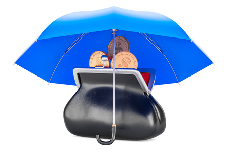 Purse with golden coins under umbrella, financial insurance concept. 3D rendering Stock Photo