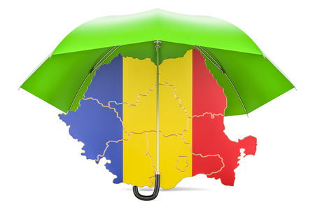 Romanian map under umbrella. Security and protect or insurance concept, 3D rendering