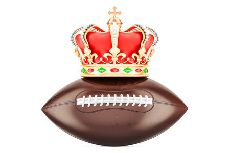 American football with royal crown, 3D rendering isolated on white background