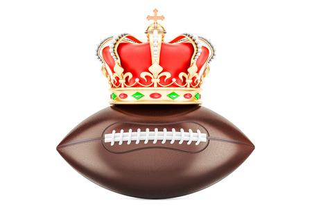 Amerikaans voetbal met koninklijke kroon, het 3D teruggeven op witte achtergrond geïsoleerd