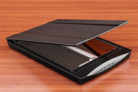Black flatbed scanner, 3D rendering isolated on the wooden table. 3D rendering  版權商用圖片