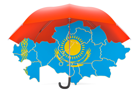 Kazakh map under umbrella. Security and protect or insurance concept, 3D rendering