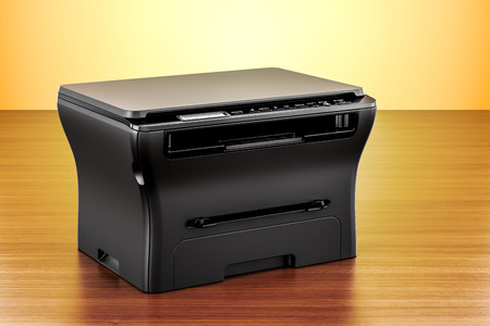 office multifunction printer MFP on the wooden table. 3D rendering   Stock Photo