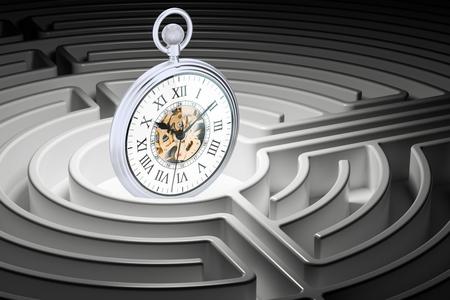 Pocket watch inside labyrinth maze, 3D rendering Stock Photo