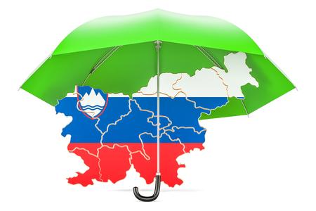 슬로베니아어 우산지도입니다. 보안 및 보호 또는 보험 개념, 3D 렌더링 스톡 콘텐츠