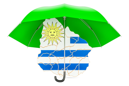 Uruguayan map under umbrella. Security and protect or insurance concept, 3D rendering