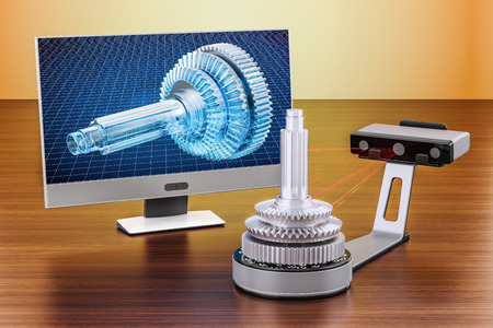 3d scanner scanning of object with computer monitor on the wooden table. 3D rendering