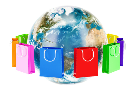 Shopping bags around Earth globe. Online shopping concept. 3D rendering isolated on white background Stock Photo