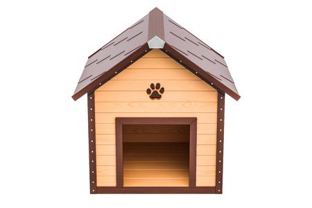 Vorderansicht der hölzernen Hundehütte, Wiedergabe 3D lokalisiert auf weißem Hintergrund