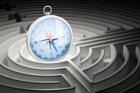 Compass inside labyrinth maze. 3D rendering