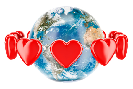 Earth globe with red hearts around, valentines day concept. 3D rendering isolated on white background Stock Photo