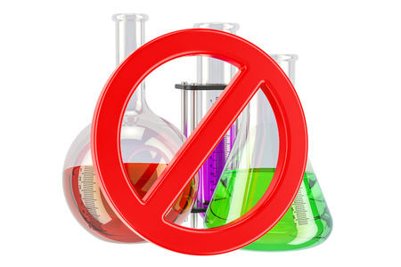 Forbidden sign with chemical flasks, 3D rendering isolated on white background Stock Photo