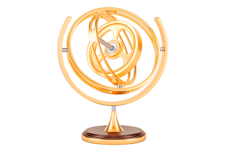Golden Gyroscope, 3D rendering isolated on white background