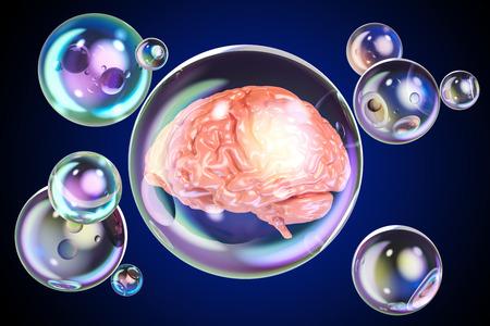 Human brain inside soap bubbles, 3D rendering Stock Photo