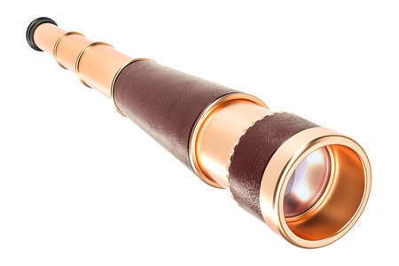 Brass Hand Held Telescope, Pirate Spyglass. 3D rendering isolated on white background