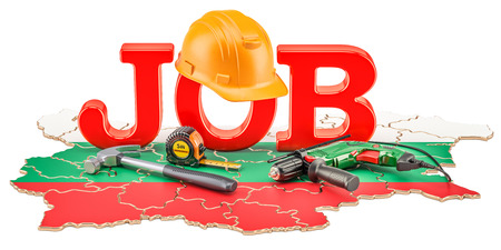 Job Vacancies in Bulgaria concept, 3D rendering isolated on white background