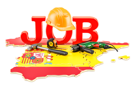 Job Vacancies in Spain concept, 3D rendering isolated on white background