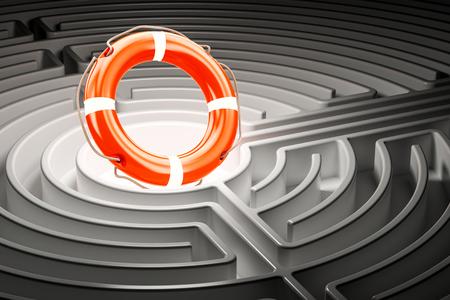 Lifebuoy inside labyrinth maze. 3D rendering Stock Photo