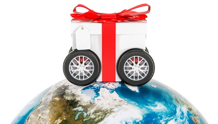 Worldwide gift delivery concept, 3D rendering Stock Photo