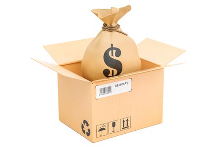 Bag with dollars inside parcel, money order concept. 3D rendering