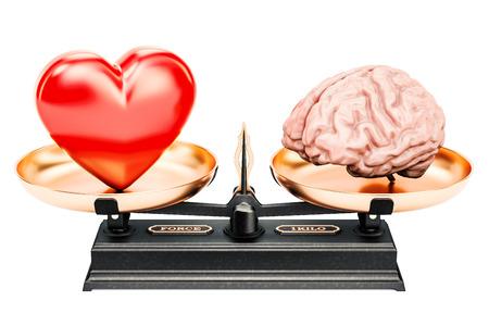 concetto dell'equilibrio, scale con cuore e cervello, rappresentazione 3D
