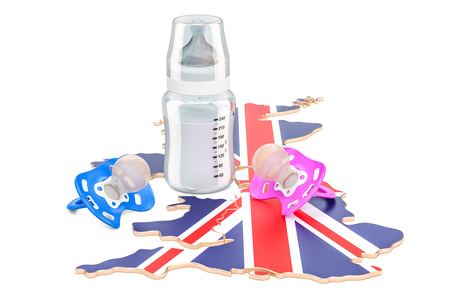 Birthrate and adoption in Great Britain concept, 3D rendering isolated on white background