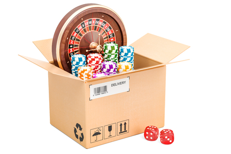 Casino delivery concept, 3D rendering isolated on white background Stock Photo