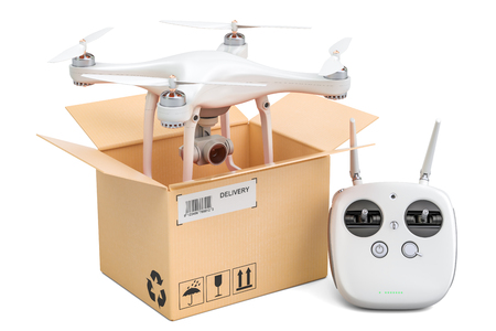 Drone quadrocopter with remote control inside cardboard box, delivery concept. 3D rendering isolated on white background Stock Photo