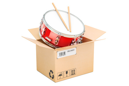 Drum inside parcel, delivery concept. 3D rendering isolated on white background Stock Photo