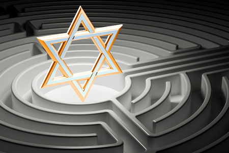 Star of David at the center of a maze, way to religion concept. 3D rendering Stock Photo