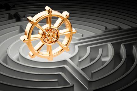 Dharmachakra at the center of a maze, way to Buddhism religion concept. 3D rendering Stock Photo