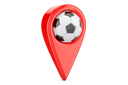 Map pointer with soccer ball, location concept. 3D rendering isolated on white background