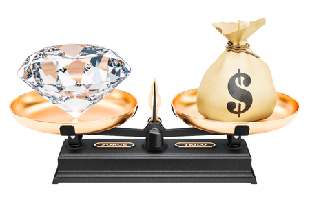 Balance concept, diamond and money. 3D rendering isolated on white background