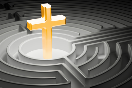 Christian cross at the center of a maze, way to religion concept. 3D rendering Banco de Imagens