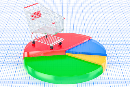 Colored pie chart with shopping cart, 3D rendering Stock Photo