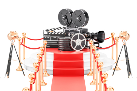 Movie Presentation concept. 3D rendering isolated on white background