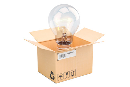 Opened cardboard box with lightbulb inside, new idea concept. 3D rendering