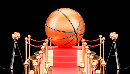 Podium with basketball ball, 3D rendering isolated on black background Stock Photo