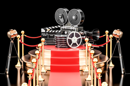 Movie Presentation concept. Podium with film reel, clapperboard and camera. 3D rendering isolated on black background Stock Photo