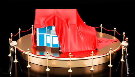 Podium with house covered red cloth. 3D rendering isolated on black background
